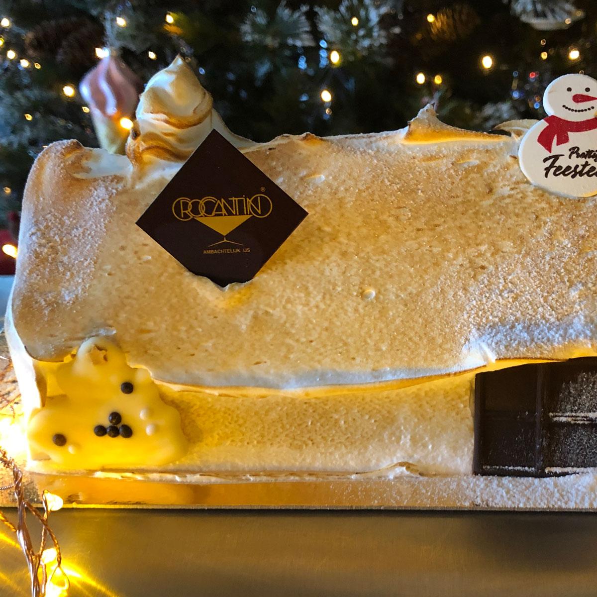 Vanille Bourbon kerststronk 5p afwerking meringue Huisje